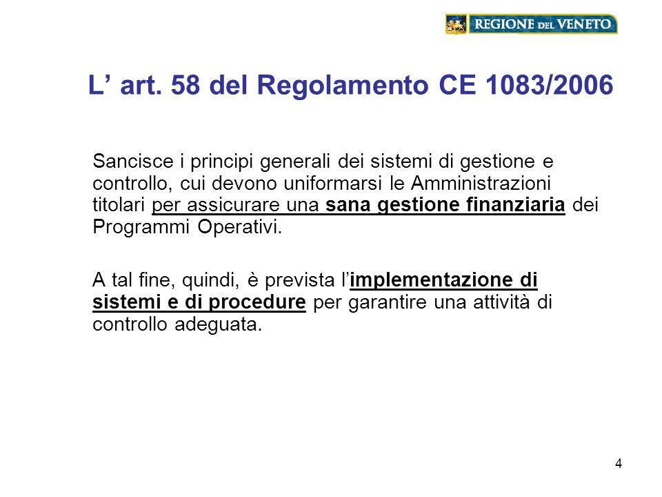 L' art. 58 del Regolamento CE 1083/2006