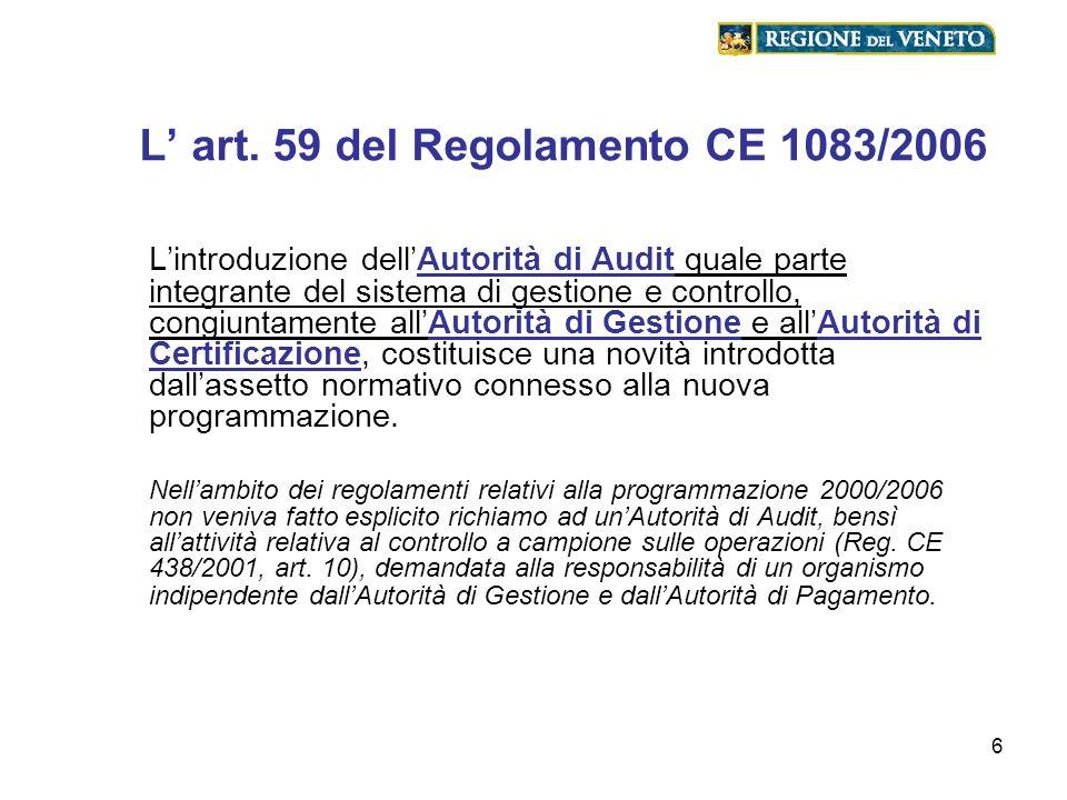 L' art. 59 del Regolamento CE 1083/2006