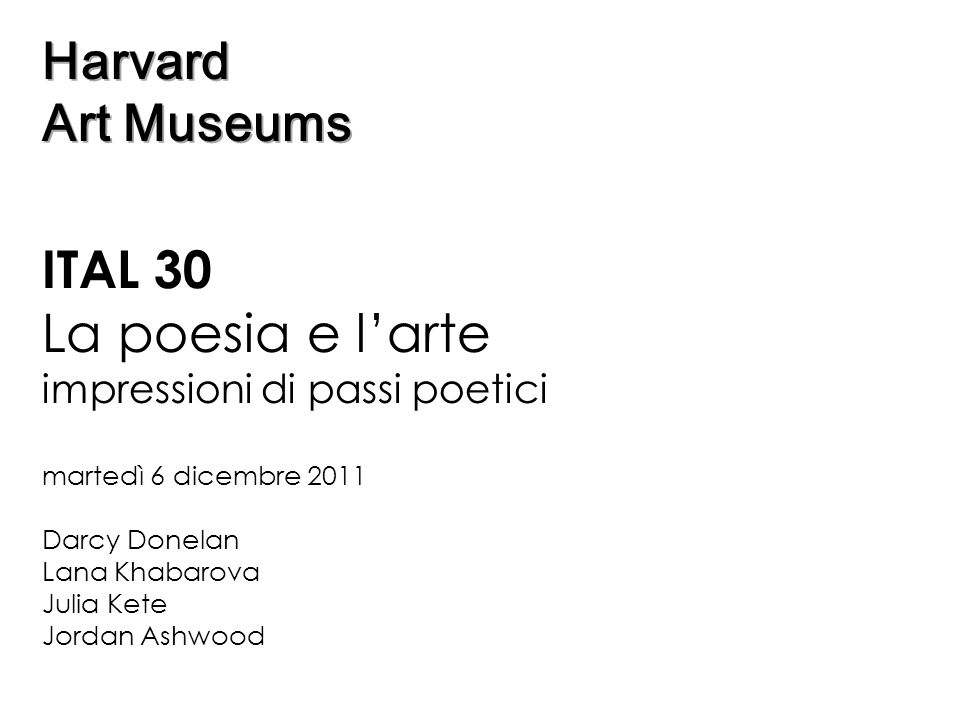 La poesia e l'arte Harvard Art Museums ITAL 30