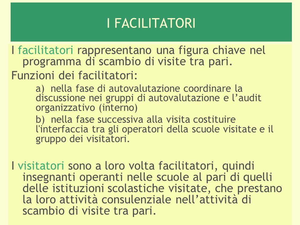 I FACILITATORI I facilitatori rappresentano una figura chiave nel programma di scambio di visite tra pari.