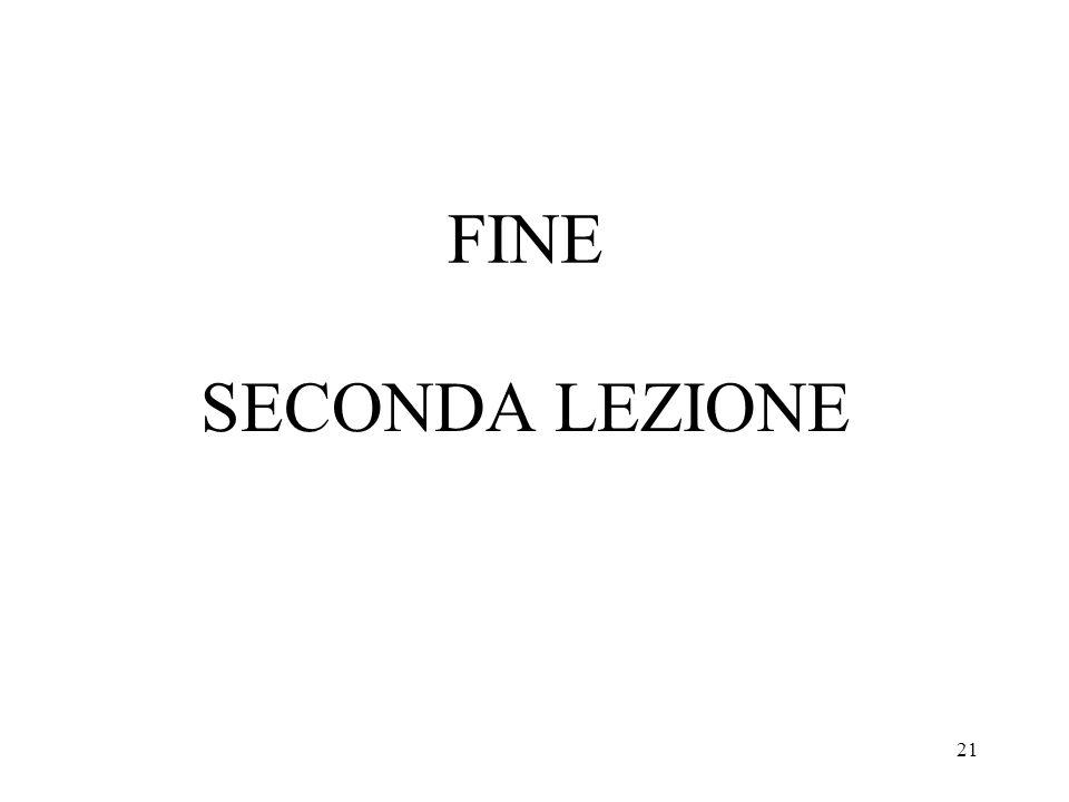 FINE SECONDA LEZIONE