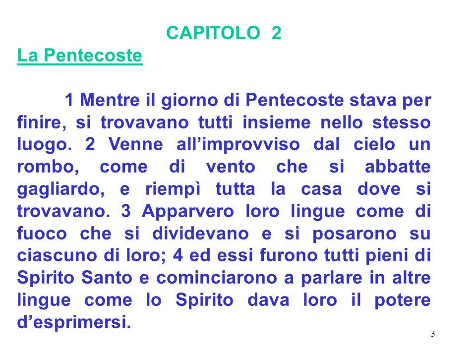 CAPITOLO 2 La Pentecoste.