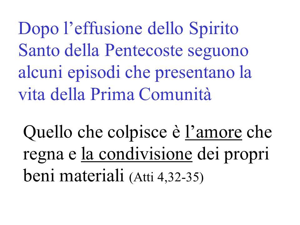 Dopo l'effusione dello Spirito Santo della Pentecoste seguono alcuni episodi che presentano la vita della Prima Comunità
