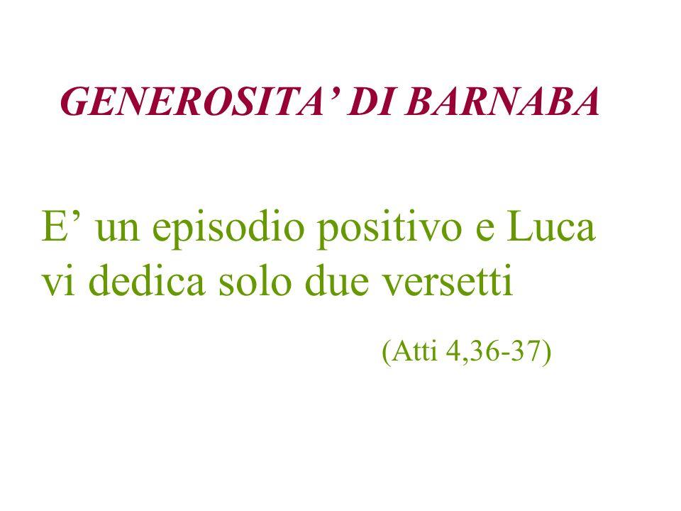 GENEROSITA' DI BARNABA