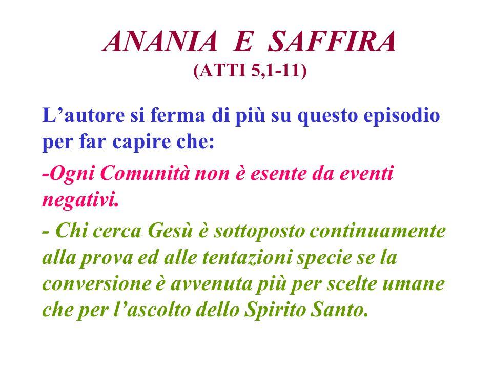 ANANIA E SAFFIRA (ATTI 5,1-11)