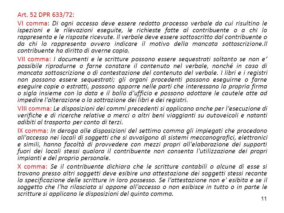 Art. 52 DPR 633/72: