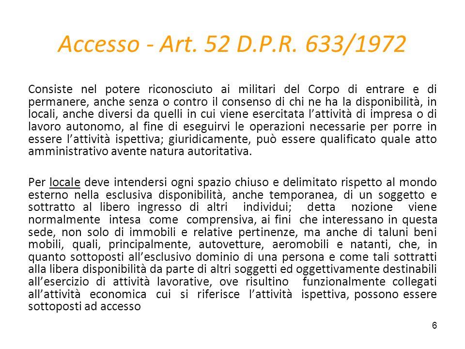 Accesso - Art. 52 D.P.R. 633/1972