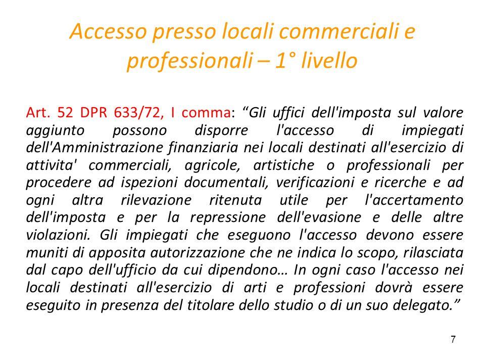 Accesso presso locali commerciali e professionali – 1° livello