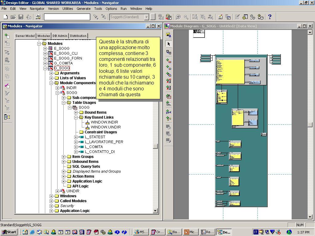 Questa è la struttura di una applicazione molto complessa, contiene 3 componenti relazionati tra loro, 1 sub componente, 6 lookup, 6 liste valori richiamate su 10 campi, 3 moduli che la richiamano e 4 moduli che sono chiamati da questa