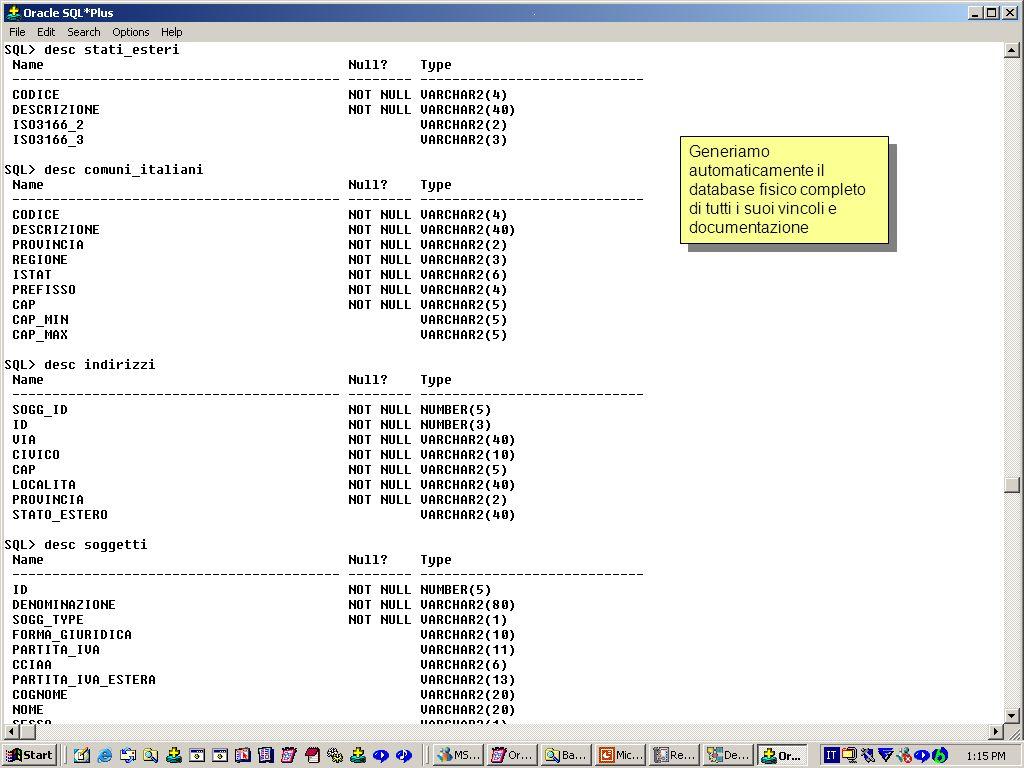 Generiamo automaticamente il database fisico completo di tutti i suoi vincoli e documentazione