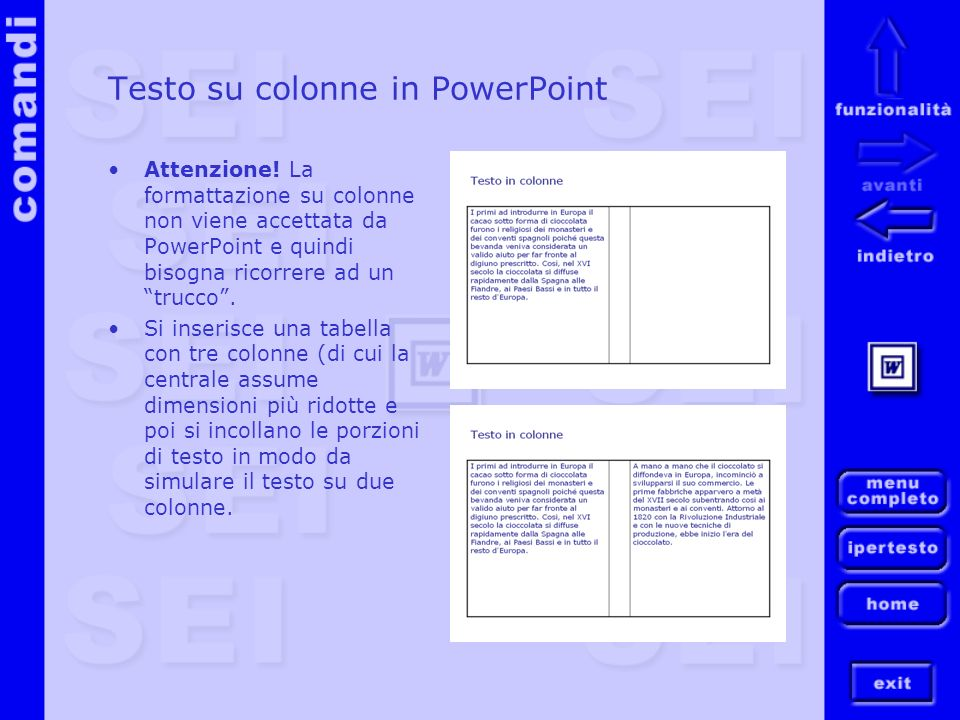 Testo su colonne in PowerPoint