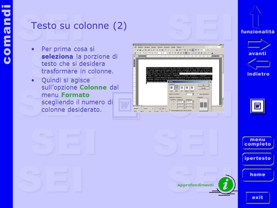 Testo su colonne (2) Per prima cosa si seleziona la porzione di testo che si desidera trasformare in colonne.