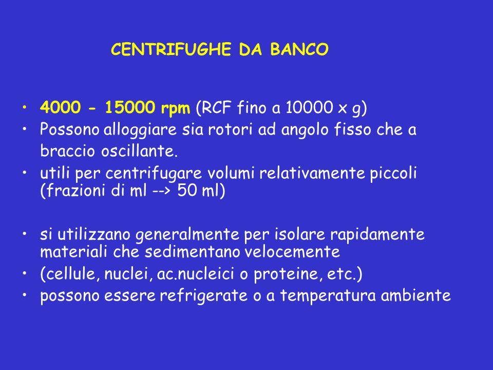 CENTRIFUGHE DA BANCO 4000 - 15000 rpm (RCF fino a 10000 x g) Possono alloggiare sia rotori ad angolo fisso che a.