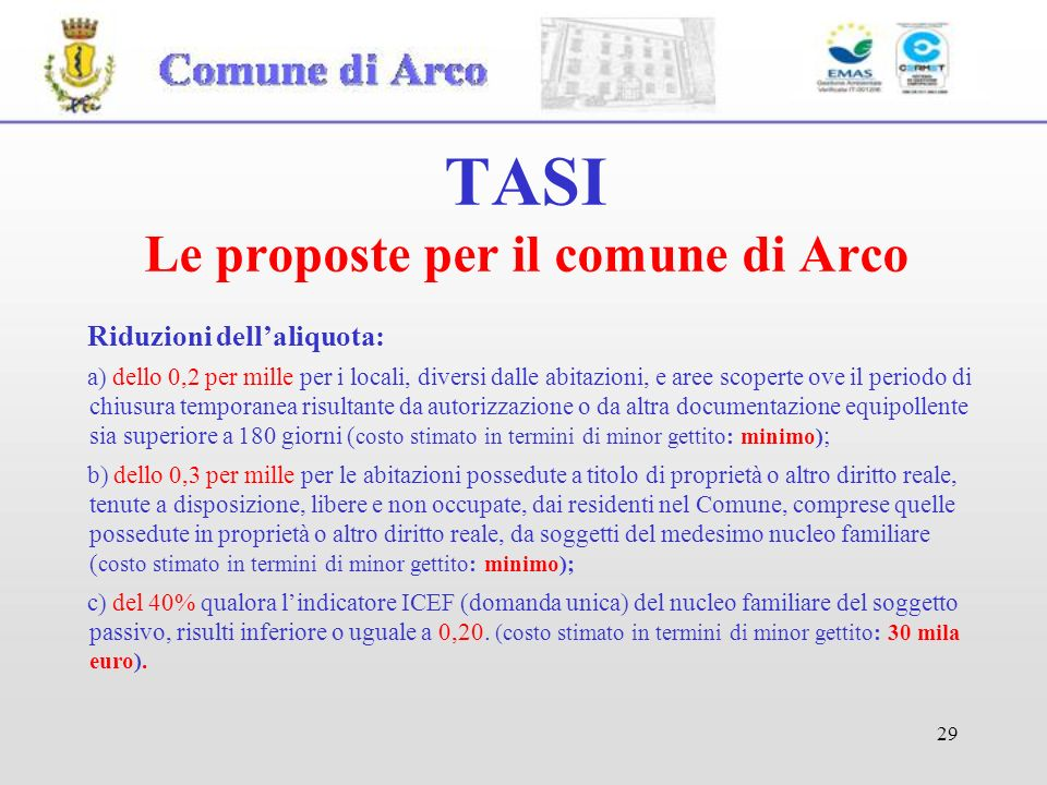 TASI Le proposte per il comune di Arco