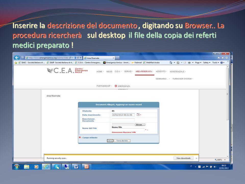 Inserire la descrizione del documento , digitando su Browser
