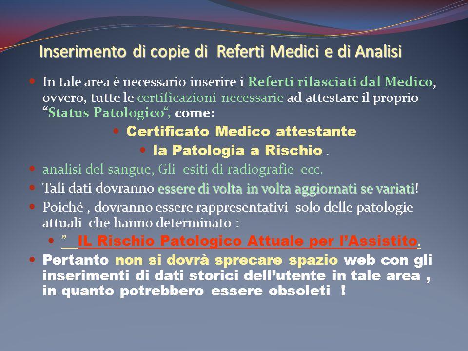 Inserimento di copie di Referti Medici e di Analisi