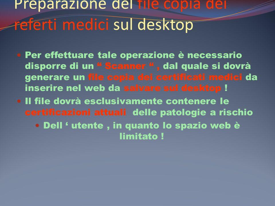Preparazione del file copia dei referti medici sul desktop