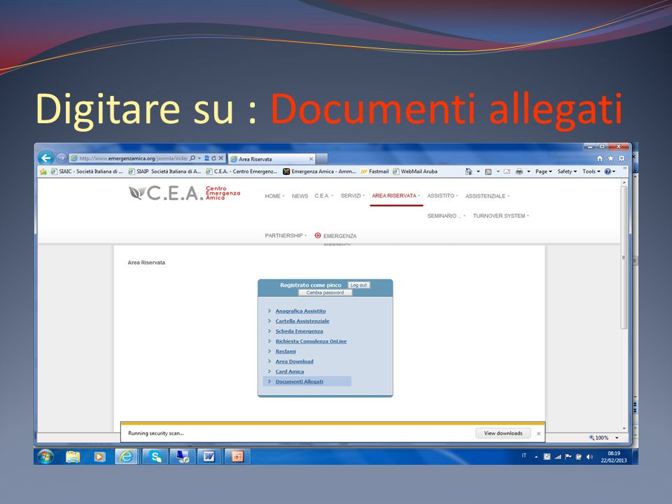 Digitare su : Documenti allegati