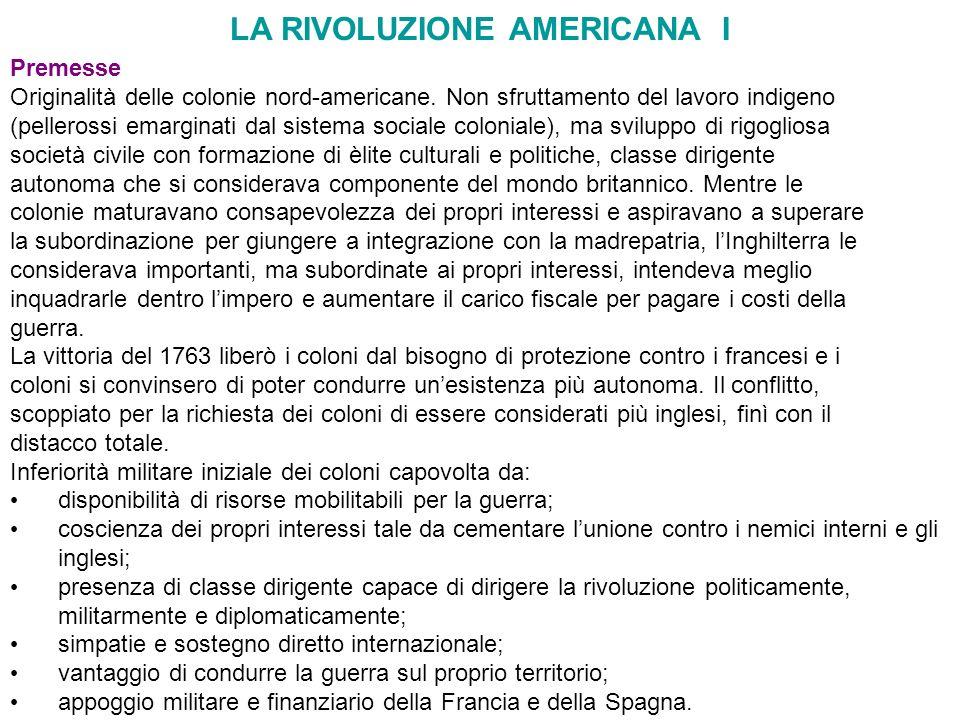 LA RIVOLUZIONE AMERICANA I
