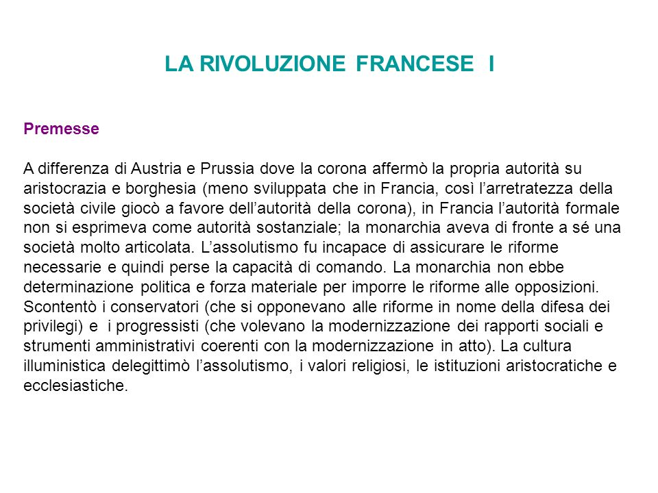 LA RIVOLUZIONE FRANCESE I