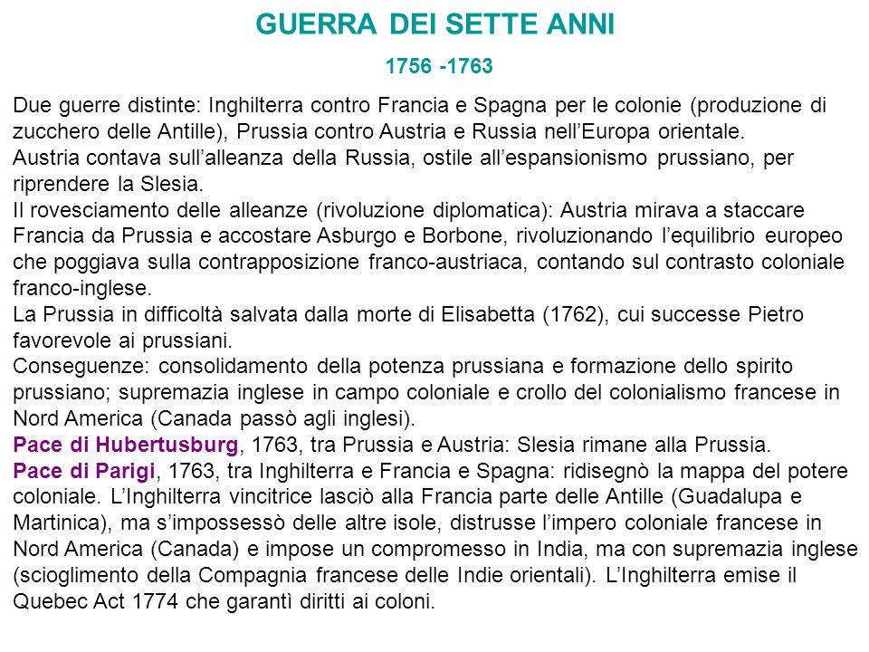 GUERRA DEI SETTE ANNI 1756 -1763