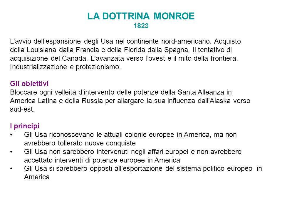 LA DOTTRINA MONROE 1823 L'avvio dell'espansione degli Usa nel continente nord-americano. Acquisto.