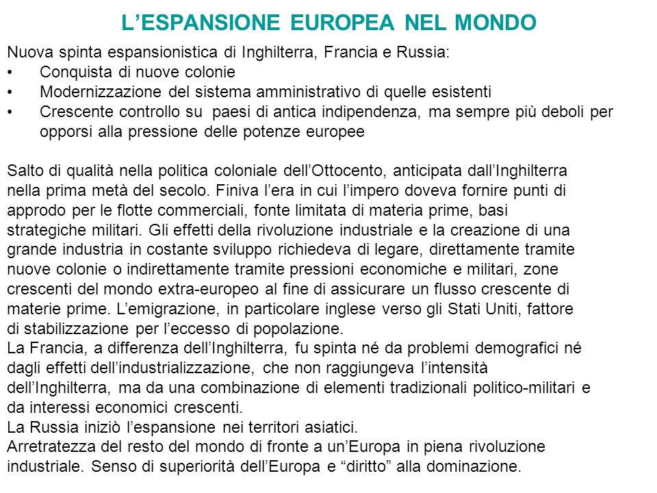 L'ESPANSIONE EUROPEA NEL MONDO