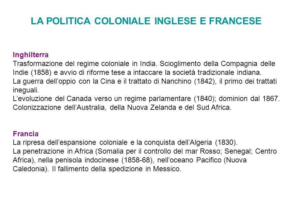 LA POLITICA COLONIALE INGLESE E FRANCESE