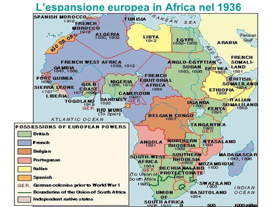 L'espansione europea in Africa nel 1936