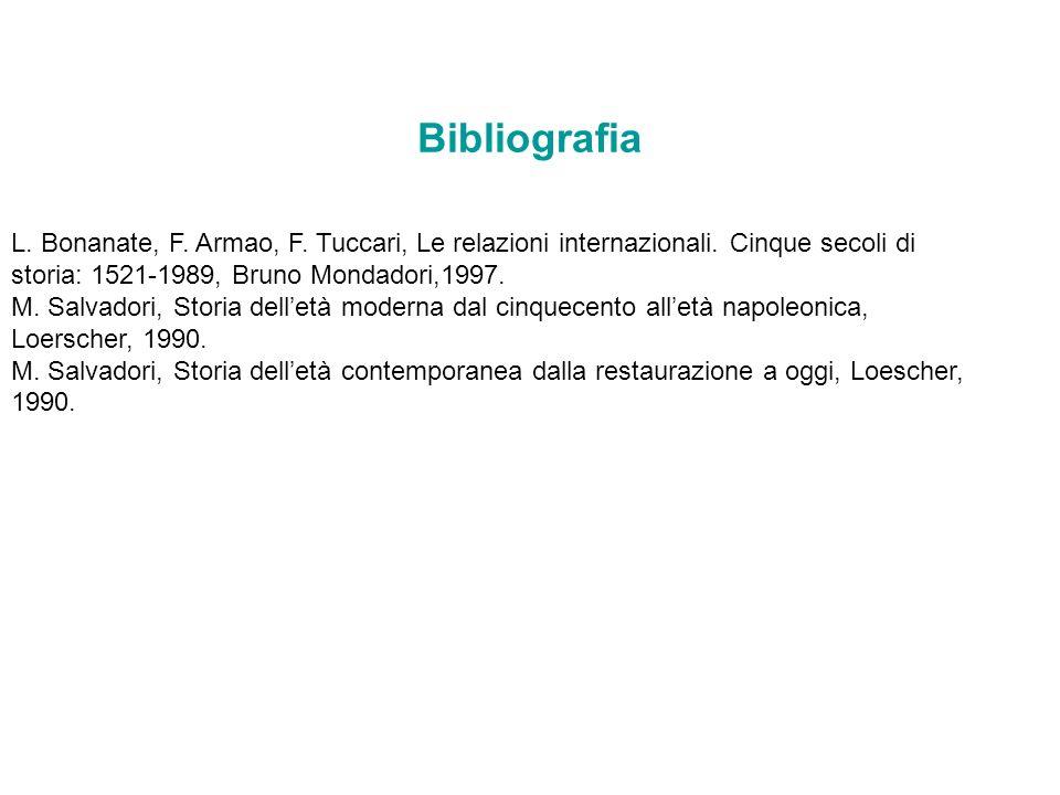 Bibliografia L. Bonanate, F. Armao, F. Tuccari, Le relazioni internazionali. Cinque secoli di storia: 1521-1989, Bruno Mondadori,1997.
