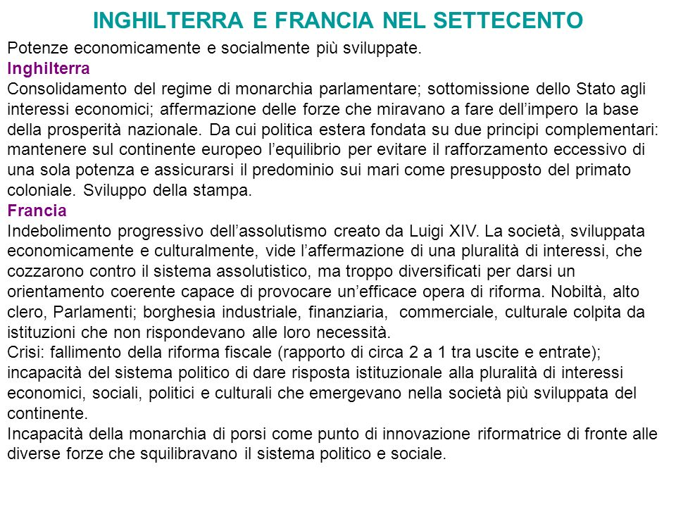 INGHILTERRA E FRANCIA NEL SETTECENTO