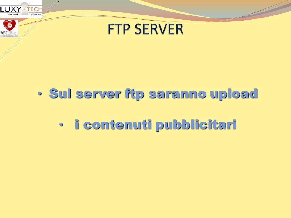 FTP SERVER Sul server ftp saranno upload i contenuti pubblicitari