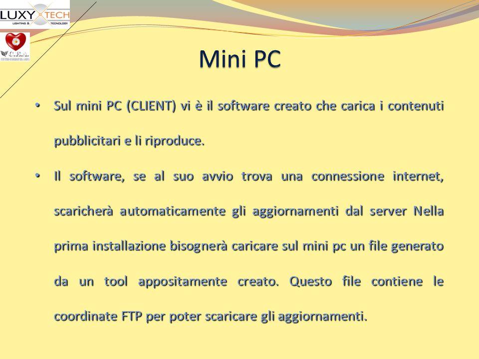 Mini PCSul mini PC (CLIENT) vi è il software creato che carica i contenuti pubblicitari e li riproduce.