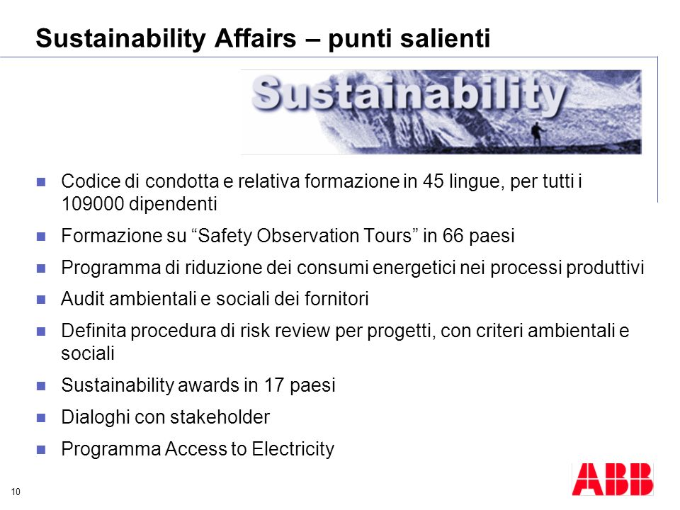 Sustainability Affairs – punti salienti