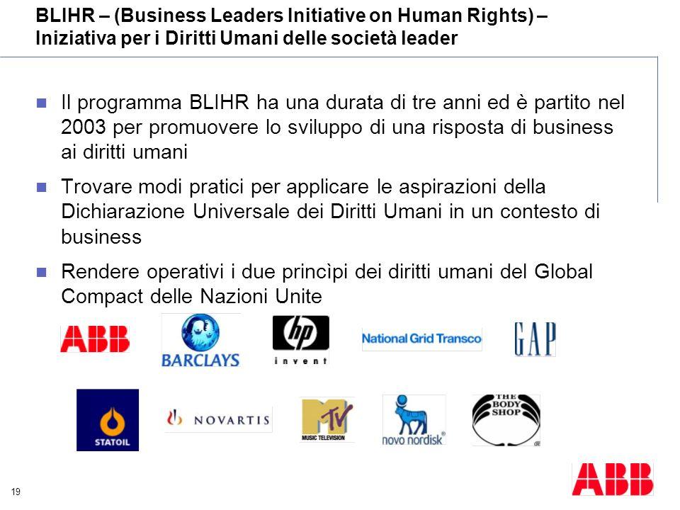 BLIHR – (Business Leaders Initiative on Human Rights) – Iniziativa per i Diritti Umani delle società leader