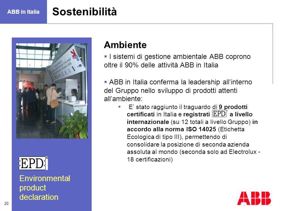 Sostenibilità Ambiente Environmental product declaration