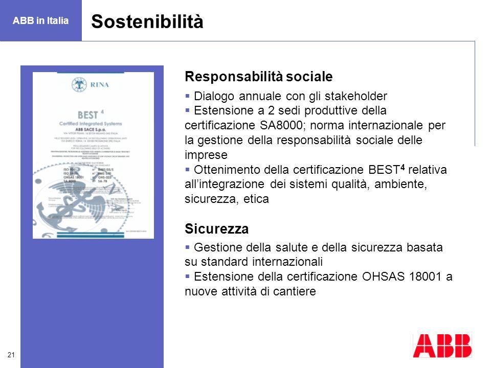 Sostenibilità Responsabilità sociale Sicurezza
