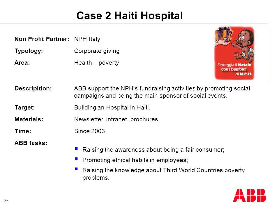 Case 2 Haiti Hospital Non Profit Partner: NPH Italy