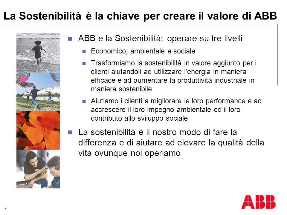 La Sostenibilità è la chiave per creare il valore di ABB
