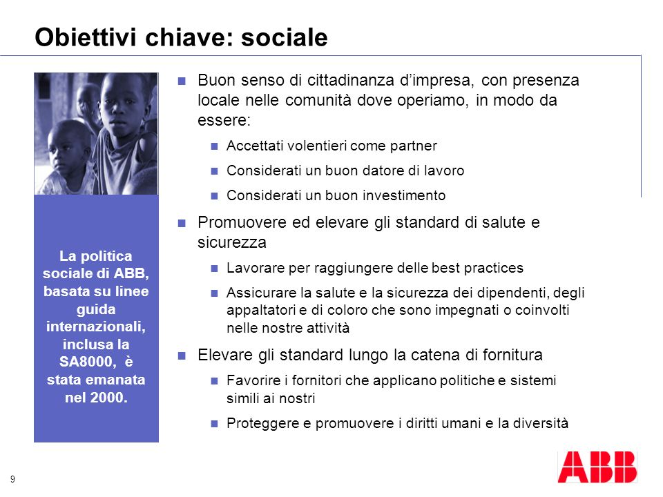 Obiettivi chiave: sociale