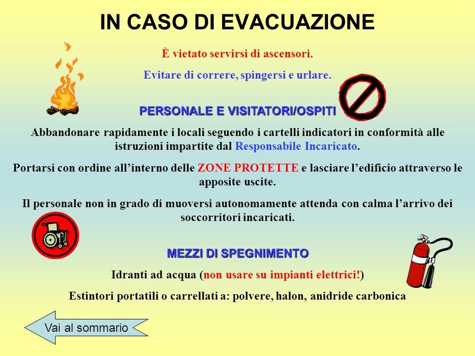IN CASO DI EVACUAZIONE È vietato servirsi di ascensori.