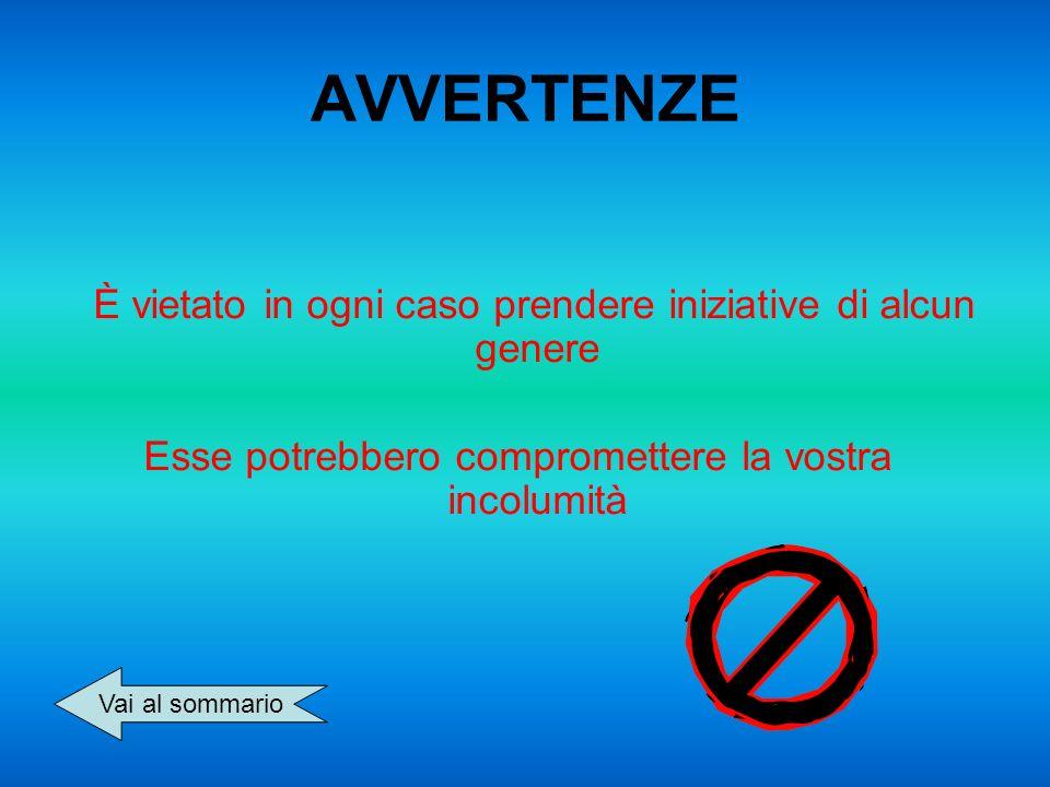 AVVERTENZE È vietato in ogni caso prendere iniziative di alcun genere