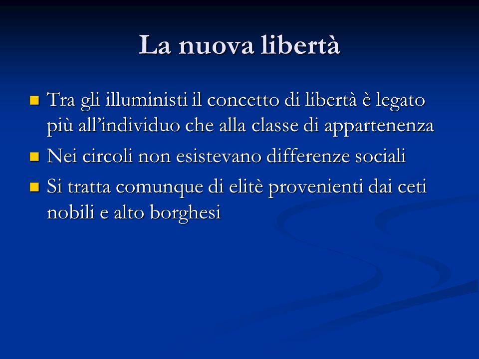 La nuova libertà Tra gli illuministi il concetto di libertà è legato più all'individuo che alla classe di appartenenza.