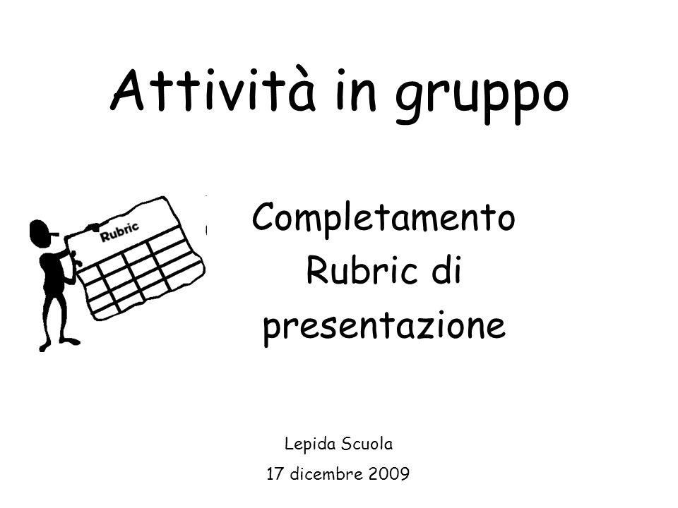 Completamento Rubric di presentazione