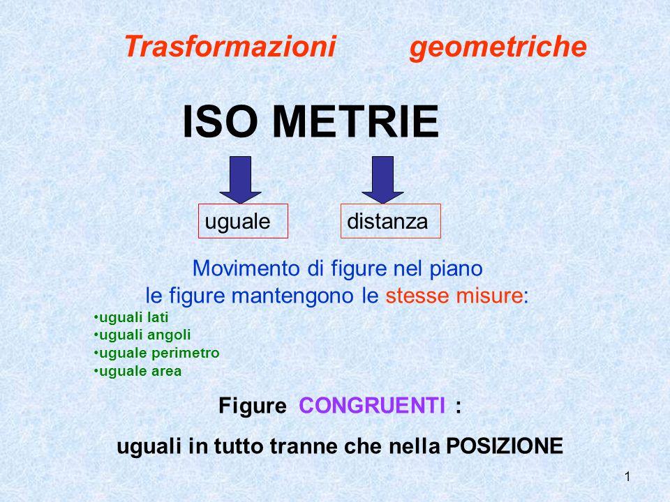 ISO METRIE Trasformazioni geometriche uguale distanza