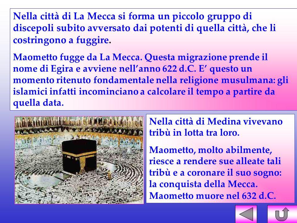 Nella città di La Mecca si forma un piccolo gruppo di discepoli subito avversato dai potenti di quella città, che li costringono a fuggire.