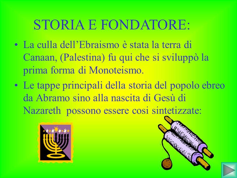 STORIA E FONDATORE: La culla dell'Ebraismo è stata la terra di Canaan, (Palestina) fu qui che si sviluppò la prima forma di Monoteismo.