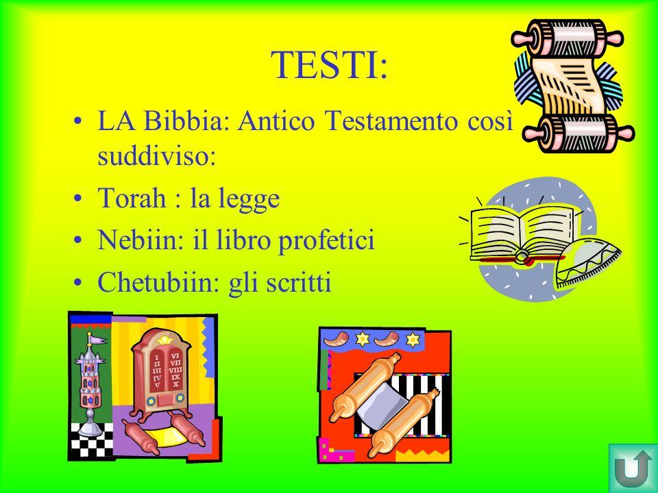 TESTI: LA Bibbia: Antico Testamento così suddiviso: Torah : la legge