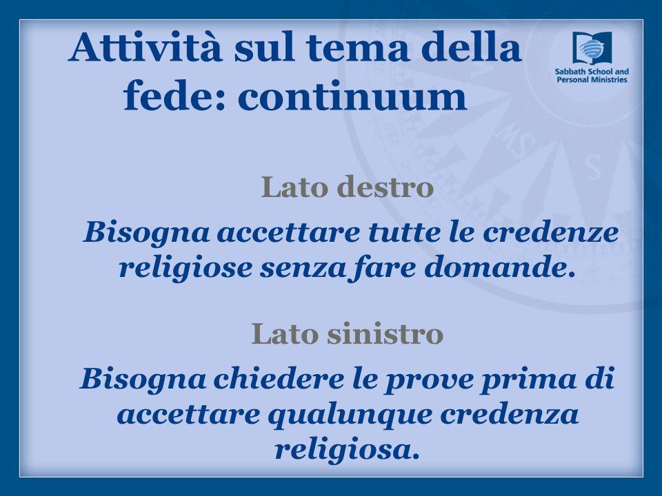 Attività sul tema della fede: continuum