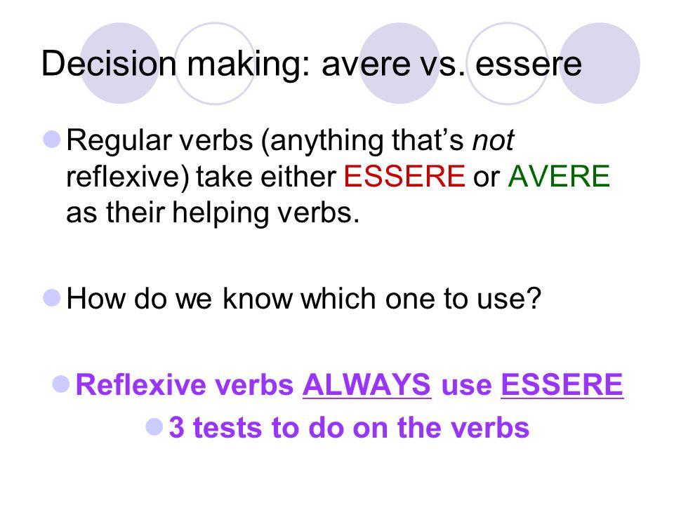 Decision making: avere vs. essere
